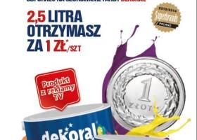 2,5 l farby za złotówkę – promocja Dekoral