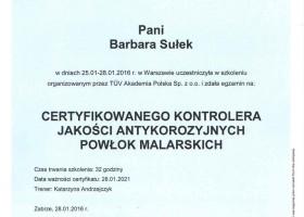 Certyfikowany Kontroler Jakości Antykorozyjnych Powłok Malarskich TUV