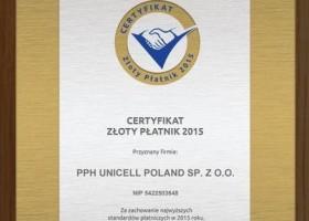 Unicell Poland z tytułem Złoty Płatnik 2015