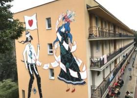 Literacki mural w Warszawie wykonany farbami Kabe