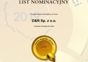 D&R z nominacją do Polskiej Nagrody Jakości 2019