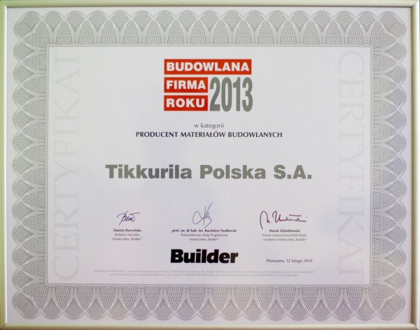 Tikkurila Polska Budowlana Firma Roku