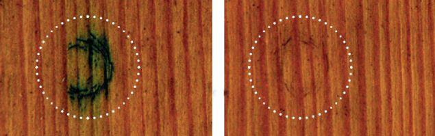 Po lewej stronie niezabezpieczone drewno - widać uszkodzenia i przebarwienia. Na prawym zdjęciu okno przy regularnej konserwacji (arch. Sikkens)