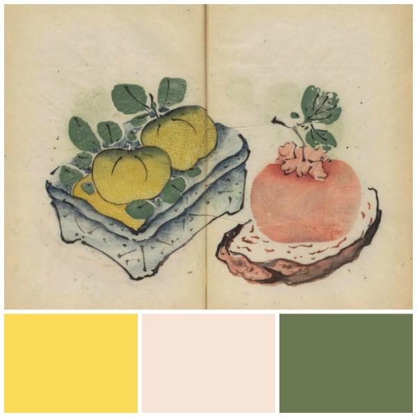 Kolory z palety Farrow & Ball od lewej: Citron, Pink Ground, Calke Green. Fot. The Chromologist / Farrow & Ball