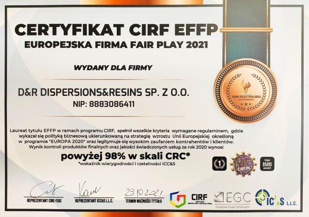 D&R Dispersions and Resins certyfikat EFFP 2021 CIRF