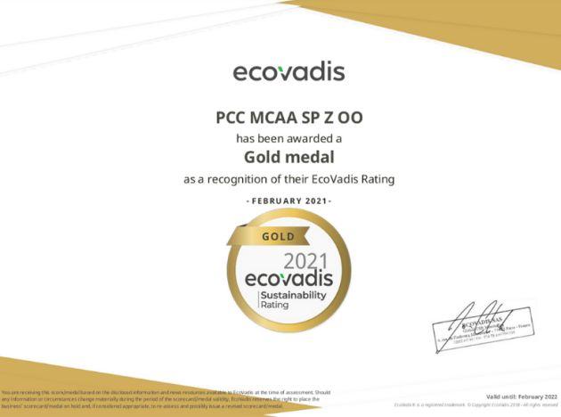 PCC MCAA złoty medal EcoVadis